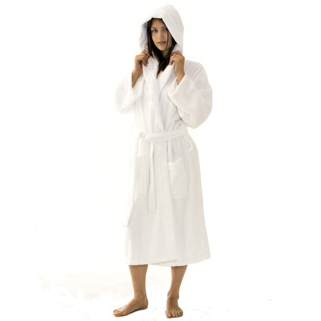TowelsRus 100% Egyptian Cotton Hooded Unisex Dressing Gown Towelling 789e8691c