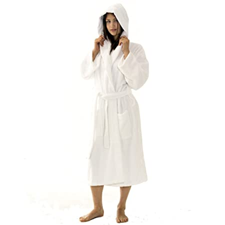 100 Egyptian Cotton Hooded Unisex Dressing Gown Thick Towelling