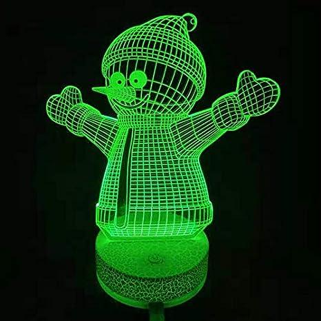 3D Ilusión óptica Lámpara LED Luz Muñeco de nieve de noche ...