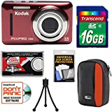 Kodak PIXPRO Friendly Zoom FZ53 Digital Camera (Red) 16GB Card + Case + Tripod + Kit