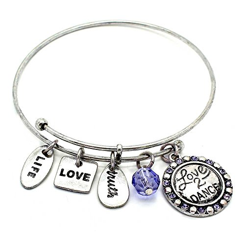 - KIS-Jewelry Symbology 'Dance' Bangle Bracelet, Silver Plated - Expandable Wire Charm Bracelet Accented with Crystal Stones and One Shiny Glass Bead - Perfect Jewelry for Fashion