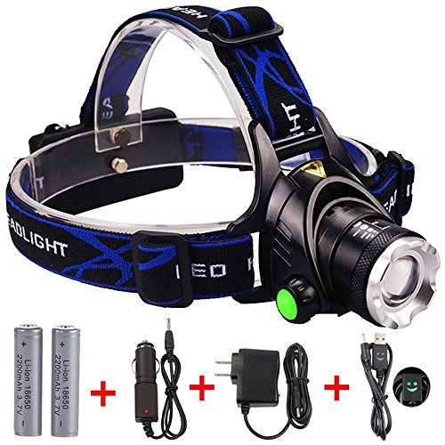 GRDE Zoomable 3 Modes Super Bright LED Headlamp with Rechargeable Batteries, Car Charger, Wall Charger and USB Cable by GRDE (Image #1)