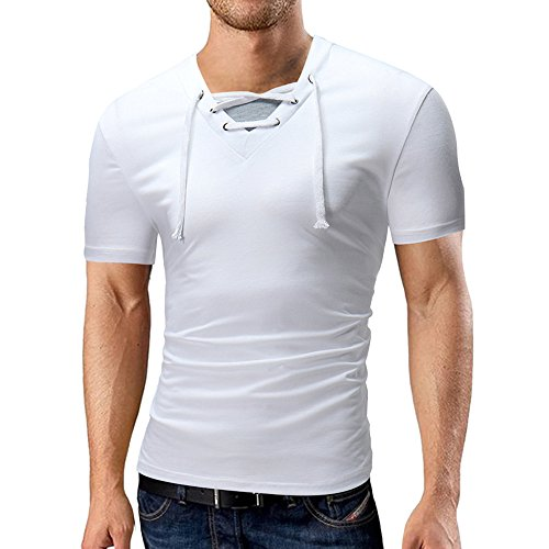 MISYAA Tank Tops for Men V-Neck Solid Shoes Tie T-Shirt Short Sleeve Top Blouse Polo Festival Gift (White,XXX-Large) from MISYAA