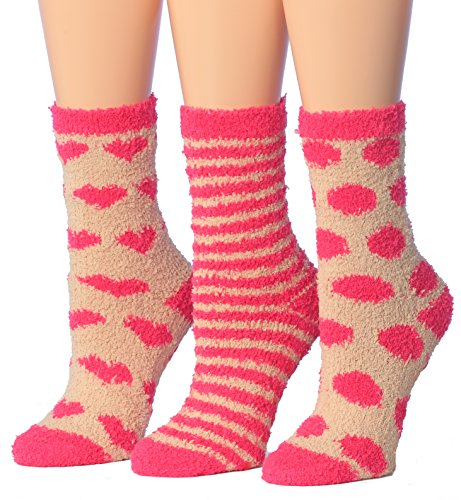 Tipi Toe Women's 3-Pairs Pink Heart Cozy Anti-Skid Soft Fuzzy Crew Socks, (sock size 9-11) Fits shoe size 6-9, FZ17-B (Warm Fuzzy Slippers For Women)