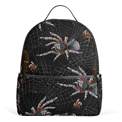 - XINGAKA Mini Backpack for Girls Embroidery Spider Gold Cage Bumblebee Seamless Travel Bags Womens Casual Fashion School Sport Outdoor Daypack Accessories Ruchsack