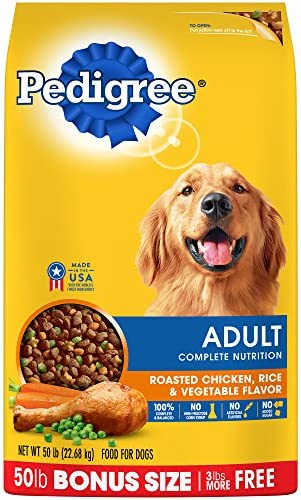 Pedigree Complete Nutrition Adult Dry Dog Food Roasted Chicken, Rice Vegetable Flavor, 50 Lb. Bag