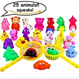 Passionfruit Popular Baby Bath Toys, Full Set Mix 25 Animals, Fishing Baskets Included, Fun Gift for Family and Kids, Bathtub Toy Set