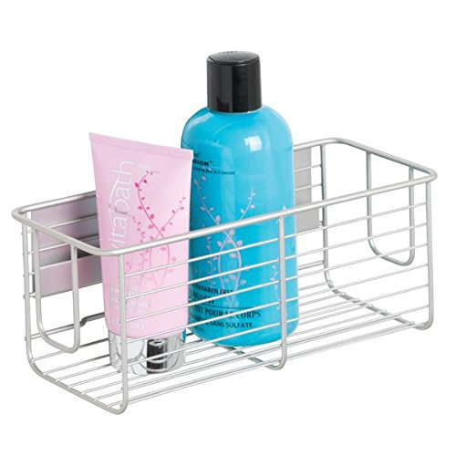 mDesign AFFIXX, Peel-and-Stick Strong Self-Adhesive Bathroom Shower Caddy Basket for Shampoo, Conditioner, Soap - Satin/Nickel