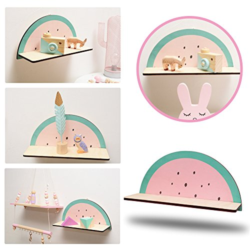 cheerfullus Watermelon Shape Wooden Storage Shelf Decorative Display Wall Hanging Children's Room Living Room Bedroom Wall Decoration by cheerfullus (Image #4)