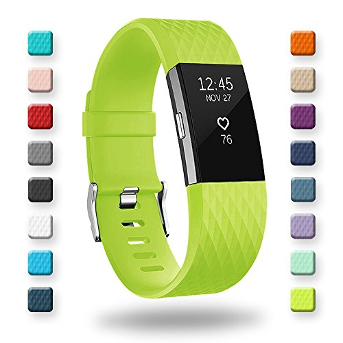 POY Replacement Bands Compatible for Fitbit Charge 2, Classic & Special Edition Sport Wristbands, Yellow Green Large, 1PC