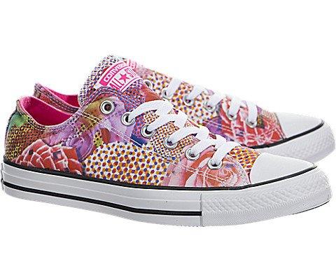 a99cb077a1c3 Converse Women s Chuck Taylor All Star Digital Floral Ox White Neon P  Basketball Shoe 7.5