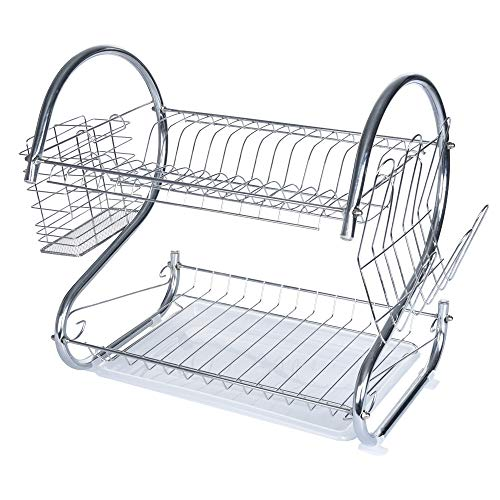 (Dish Drying Rack, Ximandi 3 Tier Dish Rack with Utensil Holder, Cups Holder and Dish Drainer for Kitchen Counter Top, Plated Chrome Dish Dryer Silver (Ship from USA) (2-Tier-S))