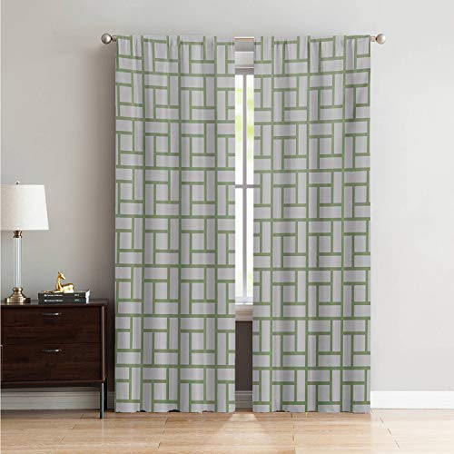 Thermal Insulated Curtain Panels Green,Maze Shaped Squares Rectangulars Geometrical Lines Modern Image Print,Pistachio Green and White W84 x L108 Inch ()