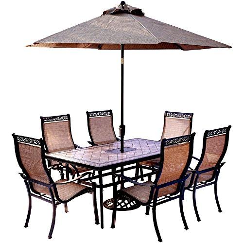 Wonderful Hanover Monaco 7 Piece Dining Set With 9u0027 Table Umbrella And Umbrella.