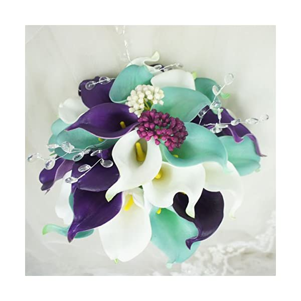 Lily Garden Wedding Floral Purple Calla Lilies with Crystals Berries Bling (Wedding Bouquet)