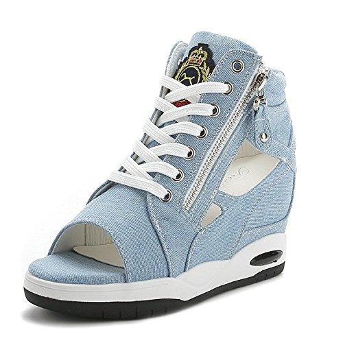 XXM-Shoes XXM-Shoes Fine avec la Bouche de Poisson Sandales Sandales Sandales Sandales Exposed Fermeture Éclair sur Toile Sandales Femelle bleu clair a97c217 - jessicalock.space