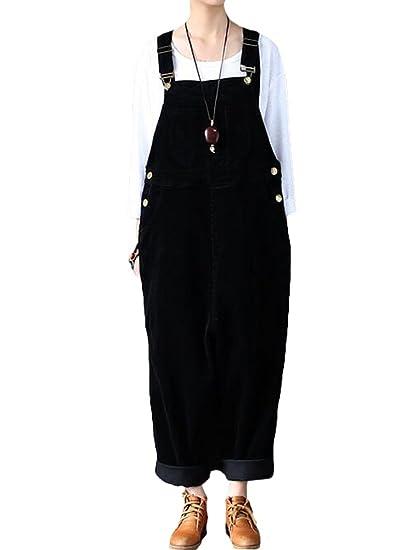 56a432d5e35 Vogstyle Women s Autumn Winter Corduroy Pant Wide Leg Loose Fit Harem  Jumpsuit Black(Size