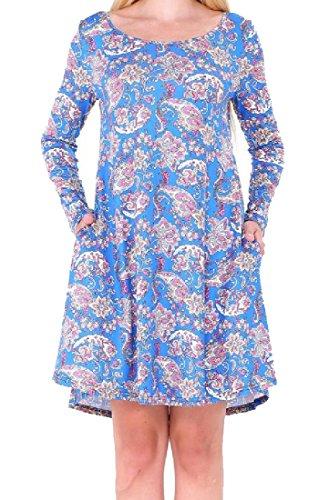 Pockets 4 Christmas Women Long Sleeved Floral Evening Dress Comfy Party qZEazwxac5