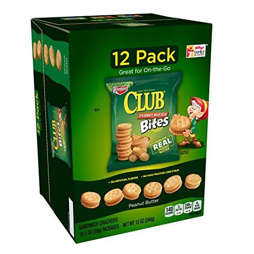 Chocolate Peanut Crackers - Keebler Club Peanut Butter Bites, Mini Sandwich Crackers, Single Serve, 1 oz Pouches Caddy Box(12 Count)(Pack of 4)
