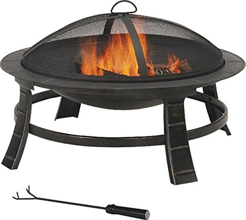 "Rocky Mountain Goods Steel Fire Pit Round (30"") - Includes safety screen, grate and fire poker - Fire warden approved for backyard use - Heavy duty sturdy steel - Patio fire pit for bonfire, camping, - Heavy duty steel construction is both sturdy and durable making this an ideal outdoor fireplace for bonfires and smore roasting - Heat resistant design can handle the hottest of fires. Fire warden safety approved - Consult with your local fire warden but so far this has been approved by all fire warden jurisdictions where fires are allowed Safety screen keeps ashes contained with patio fire pit and allows for use in backyard or camping - patio, outdoor-decor, fire-pits-outdoor-fireplaces - 51xiiajzX5L -"