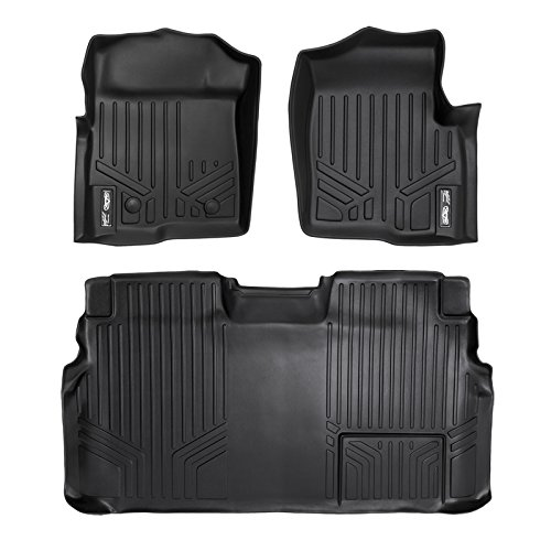 SMARTLINER Custom Fit Floor Mats 2 Row Liner Set Black for 2011-2014 Ford F-150 SuperCrew Cab