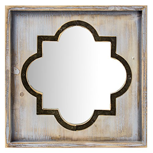 Crystal Art Whitewashed Rustic Wood & Metal Vanity Mirror (Square), Farmhouse Wall Décor, Multicolor by Crystal Art (Image #3)