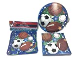 Sports Themed, Soccer, basketball, Football, Baseball, Birthday Party Supply Bundle. 3 Items; Plates, Napkins, Birthday Banner. Serves 18