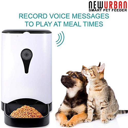 Newurban Automatic Pet Feeder – App Control Smart iOS & Android, Cat, Dog Food Dispenser with WiFi, HD Video Camera…
