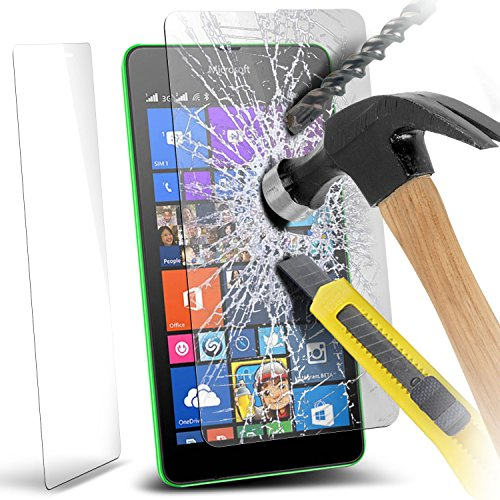 Fone-Case (Pack Of 3) Microsoft Lumia 535 Case Brand New Luxury Tempered Glass Crystal Clear LCD Screen Protectors Packs With Polishing Cloth & Application Card