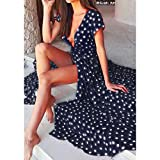IEason Women Dresses Women Summer Boho Long Evening Party Cocktail Dress Beach Dress Sundress (M, Navy)