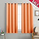 Blackout Curtains for Bedroom Triple Weave Room Darkening Cirtain Panels for Kids Room Thermal Insulated Living Room Drapes, Grommet Top, 1 Panel, Orange