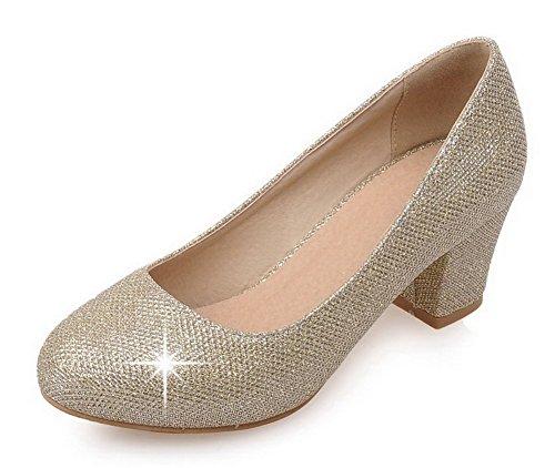AgooLar Damen Ziehen auf Rund Zehe Mittler Absatz Pailletten Rein Pumps Schuhe Golden