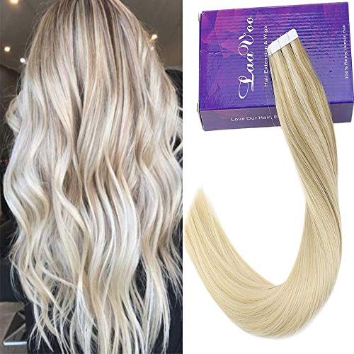 LaaVoo 18quot Remy Hair Extensions Glue in Hair #18 Ombre to #24 Highlighted with #60 Platinum Blonde Tape in Seamless Hair Extensions 50g 20 Pieces