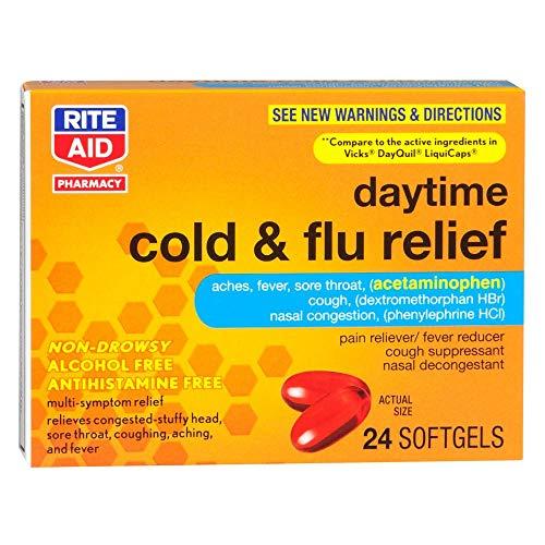 Rite Aid Multi-Symptom Daytime Cold & Flu Relief, 24 Softgels