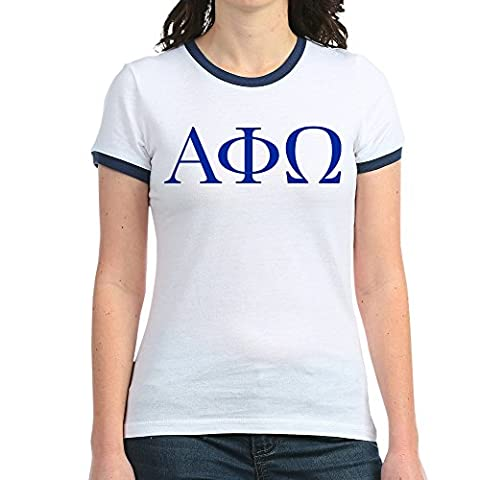 CafePress - Alpha Phi Omega Letters Blue - Jr. Ringer T-Shirt, Slim Fit 100% Cotton Ringed Shirt