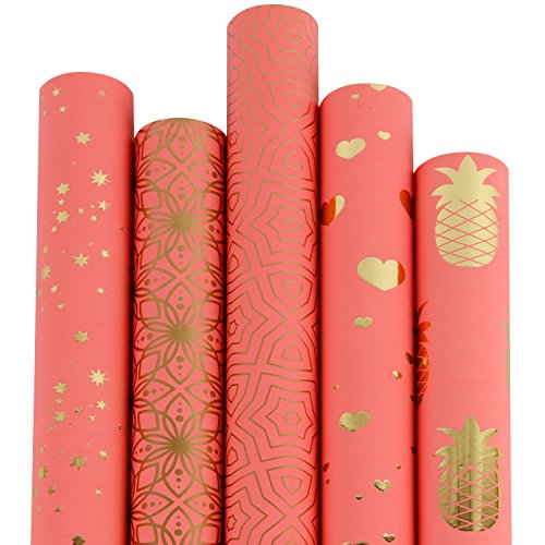 RUSPEPA Gift Wrapping Paper Roll-Watermelon and Gold Foil