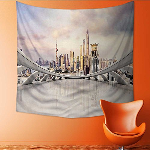 Home Decor City Skyline Traffic and in Shanghai China Cloudscape Commercial White Tapestry Wall Hanging Art for Living Room Bedroom Dorm Home Decor32W x 32L Inch by L-QN