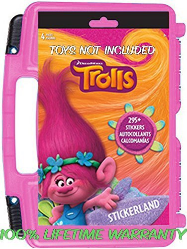 Official DreamWorks Trolls Sticker Book + Mini Figures Compatible Storage Organizer. Stores Up to 100 Trolls Mini Figures. Customize Your Children's Storage Box With This 4 page Sticker Collection (Nutcracker Troll)