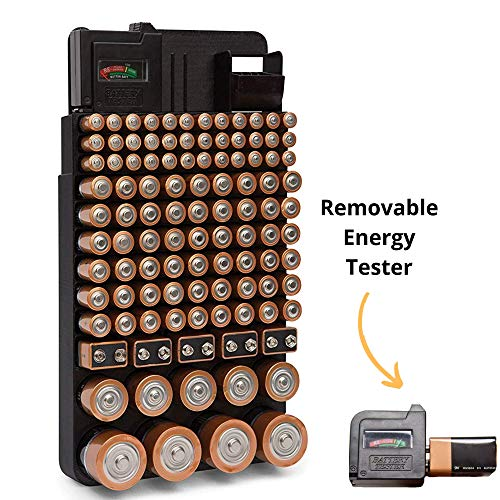 Bee Neat Battery Organizer Storage Case with Energy Tester - New and Improved Rack Design Holds 110 Large and Small Batteries - Wall Mounted or in a Drawer