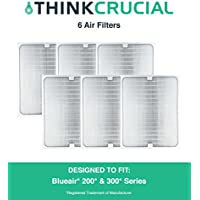 6 Air Purifier Filters fit ALL Blueair 200 & 300 Series Models 201, 210B, 203, 250E,200PF, 201PF, Designed & Engineered by Crucial Air