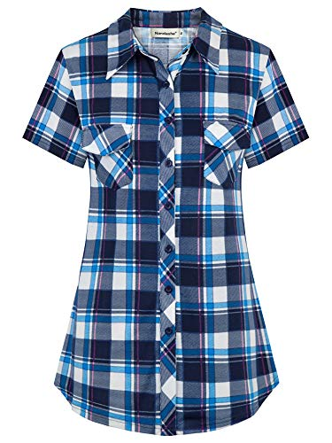 Nandashe Tartan Shirts for Women Short Sleeve, Females Notch Collar Chic Stylish Comfort Stretch Designer Versatile Form-Fitting Baggy Multicolor Cool Career Henley Tops Surrounding The House Blue L