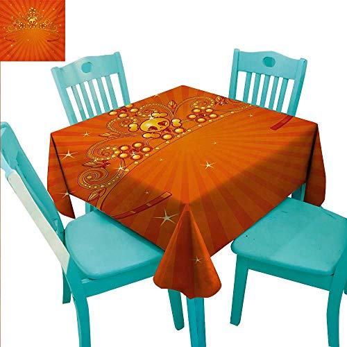Queen Easy Care Tablecloth Fancy Halloween Princess Crown with Little Skull Daisies on Radial Orange Backdrop Stars Runners,Gatsby Wedding,Glam Wedding Decor,Vintage Weddings 54