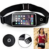 Black Sports Running Workout Waist Bag Belt Case Gym Cover Pouch Transparent Touch Screen for Motorola Moto Z Force Droid, Turbo 2 - Samsung Galaxy S9+ S9, S8+ S7 Edge S6 Edge+ Edge S5