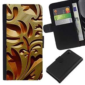 KingStore / Leather Etui en cuir / Sony Xperia Z3 D6603 / Dise?o de Interiores de talla de madera Arquitectura Arte