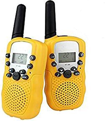 DOLIROX Kids Children Mini Hand Held Walkie Talkie Set Wireless 2-Way Radio Intercom Interphone with LCD Display and LED Flashing Light pack of 2 Yellow
