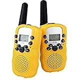 DOLIROX Kids Children Mini Hand Held Walkie Talkie Set Wireless 2-Way Radio Intercom Interphone with LCD Display and LED Flashing Light pack of 2 (Yellow)