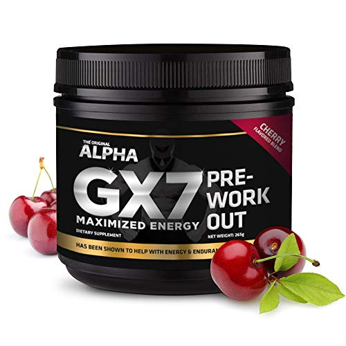 Alpha Gx7 Pre Workout Powder - Energy Drink for Workouts - 30 Servings Cherry