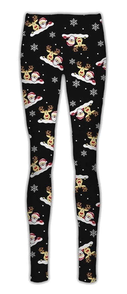 Janisramone New Womens Girls Christmas Xmas Tree Santa Flake Reindeer Xmas Stretchy Leggings