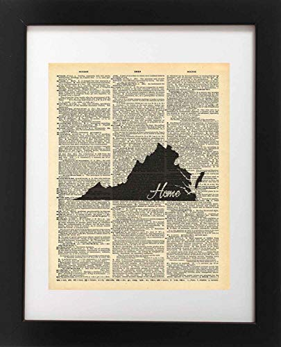 - Virginia State Vintage Map Vintage Dictionary Print 8x10 inch Home Vintage Art Abstract Prints Wall Art for Home Decor Wall Decorations For Living Room Bedroom Office Ready-to-Frame Home