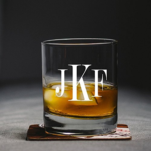 (Monogram Scotch Glass, Groomsman Gift, Monogram Whiskey Glass, Etched Rock Glass, Personalized Scotch Glass, Etched Glas)
